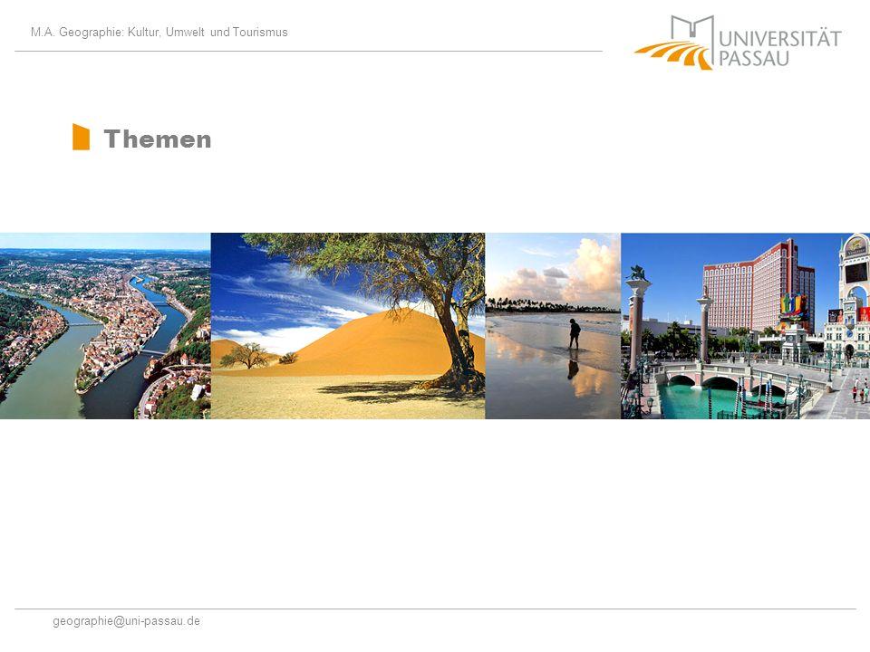 Themen M.A. Geographie: Kultur, Umwelt und Tourismus
