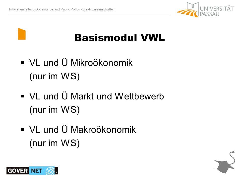 Basismodul VWL VL und Ü Mikroökonomik (nur im WS)