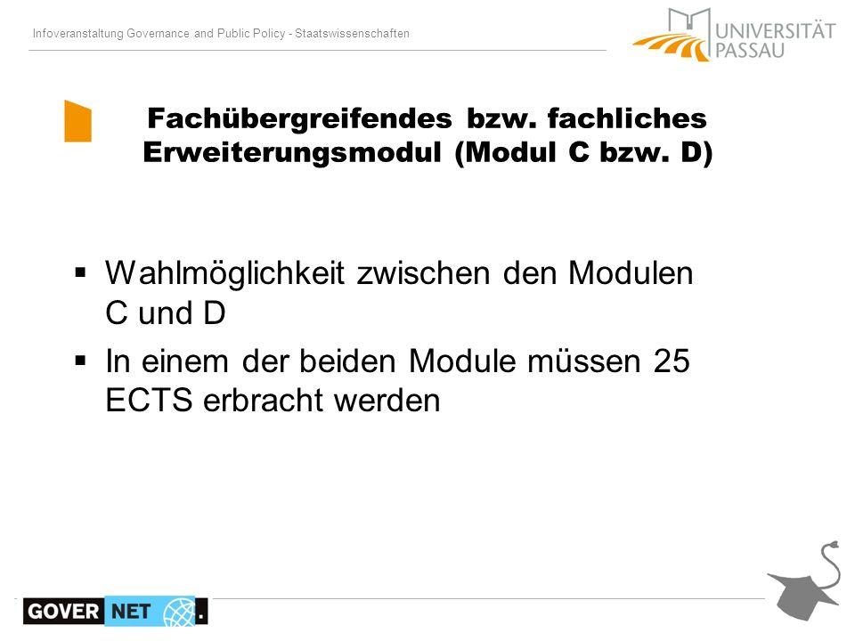 Fachübergreifendes bzw. fachliches Erweiterungsmodul (Modul C bzw. D)