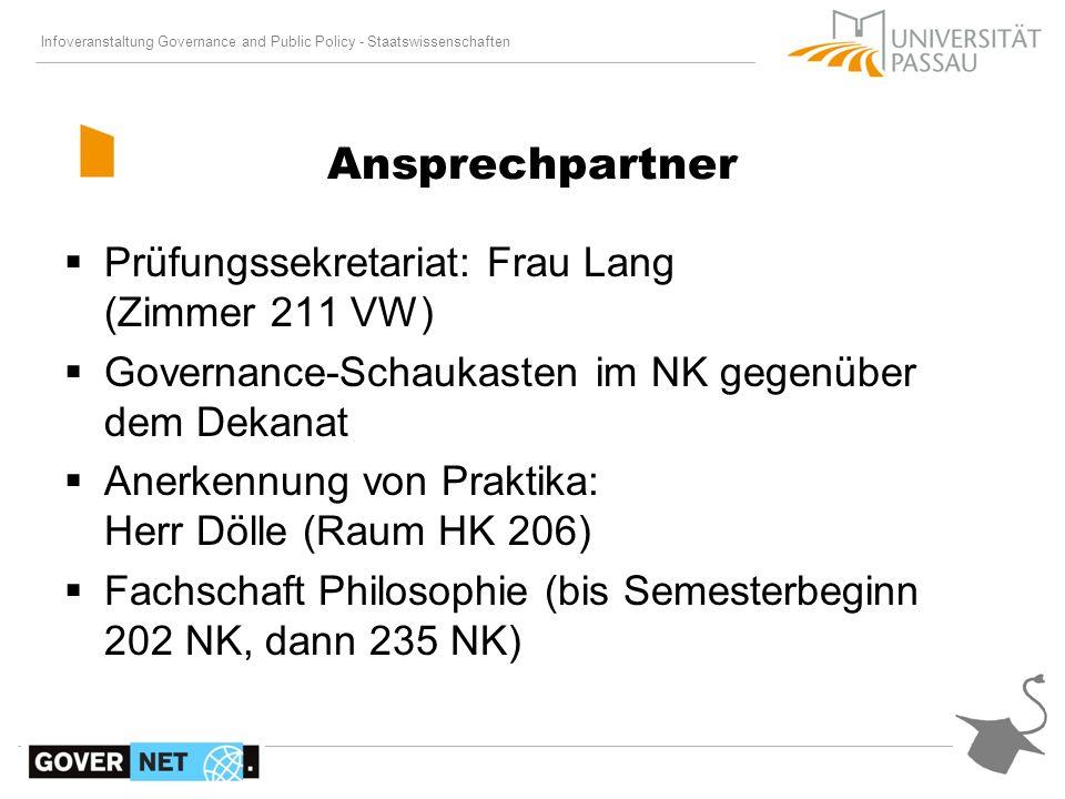 Ansprechpartner Prüfungssekretariat: Frau Lang (Zimmer 211 VW)