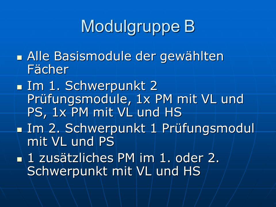 Modulgruppe B Alle Basismodule der gewählten Fächer