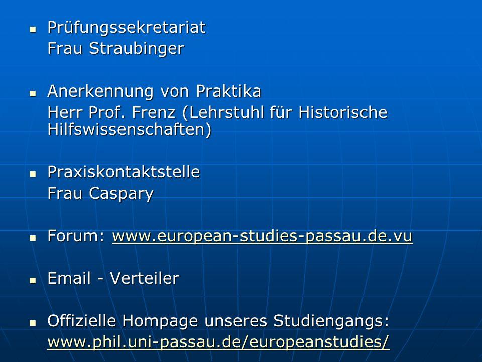 Prüfungssekretariat Frau Straubinger. Anerkennung von Praktika. Herr Prof. Frenz (Lehrstuhl für Historische Hilfswissenschaften)