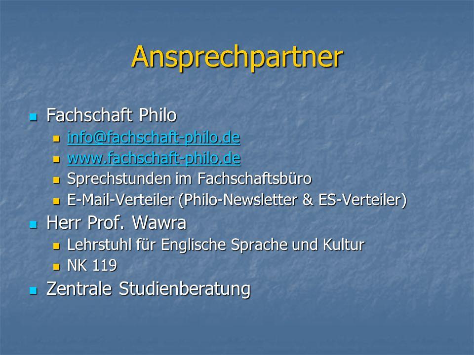 Ansprechpartner Fachschaft Philo Herr Prof. Wawra