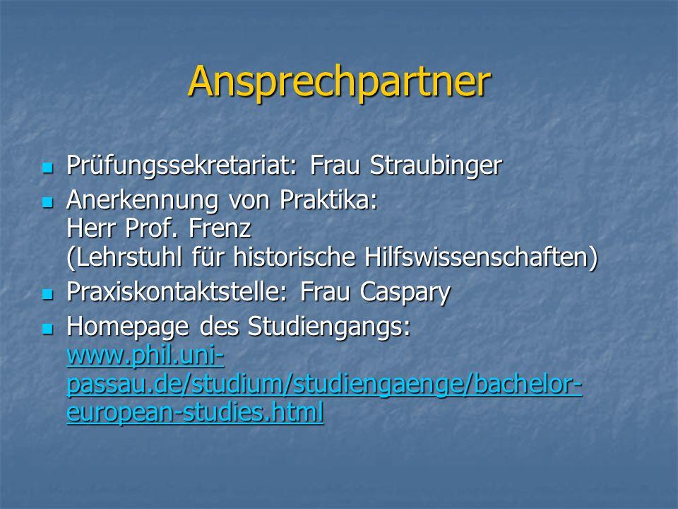 Ansprechpartner Prüfungssekretariat: Frau Straubinger