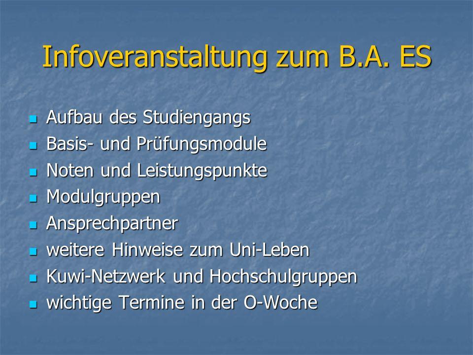 Infoveranstaltung zum B.A. ES