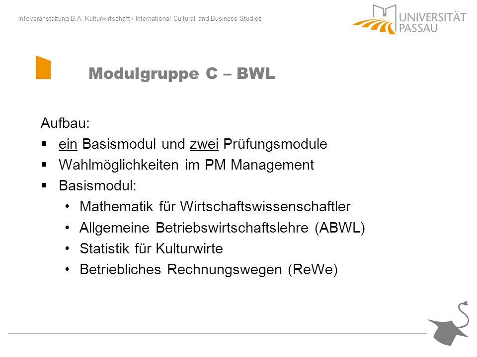 Modulgruppe C – BWL Aufbau: ein Basismodul und zwei Prüfungsmodule