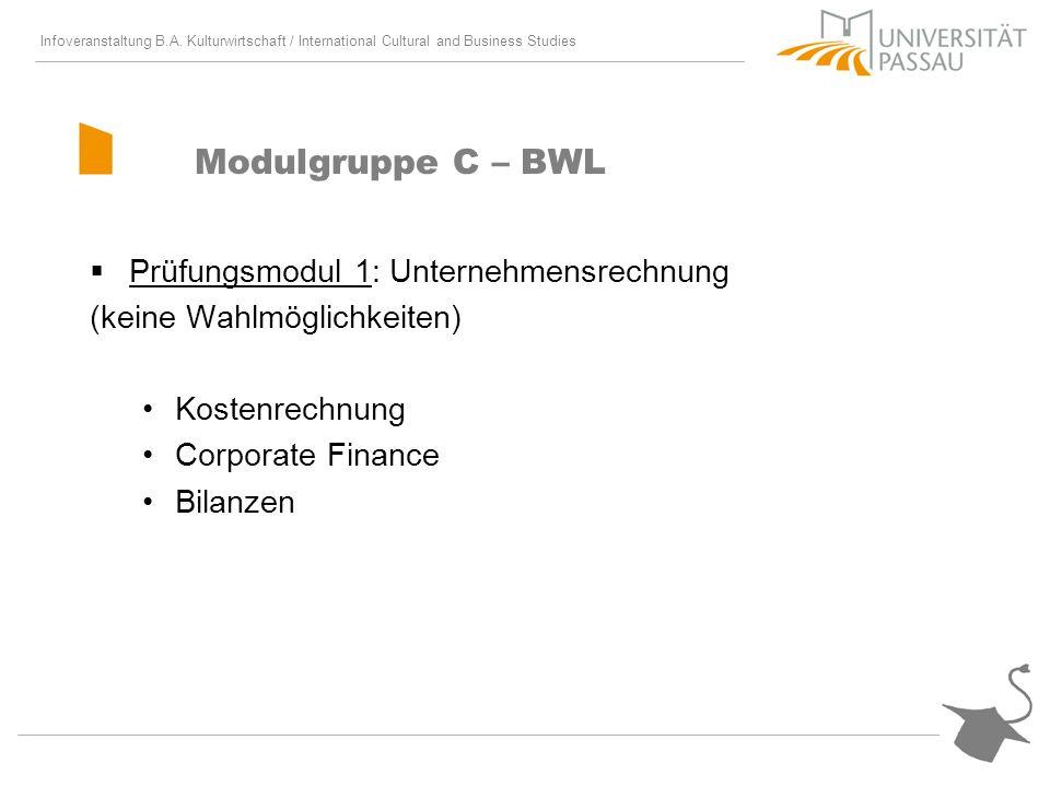Modulgruppe C – BWL Prüfungsmodul 1: Unternehmensrechnung