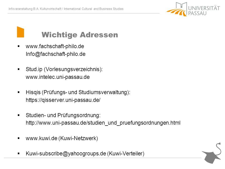 Wichtige Adressen www.fachschaft-philo.de Info@fachschaft-philo.de