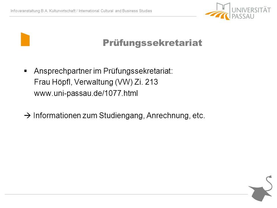 Prüfungssekretariat Ansprechpartner im Prüfungssekretariat: