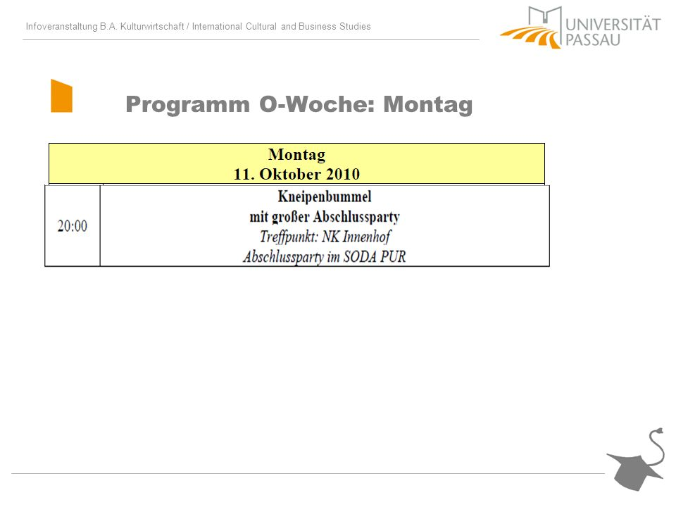 Programm O-Woche: Montag