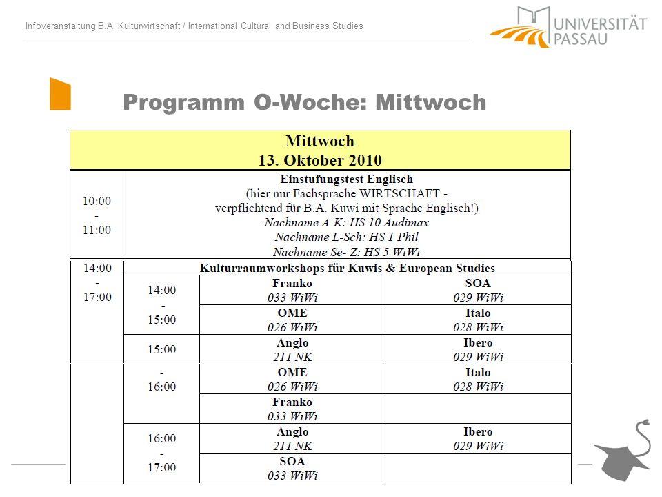 Programm O-Woche: Mittwoch