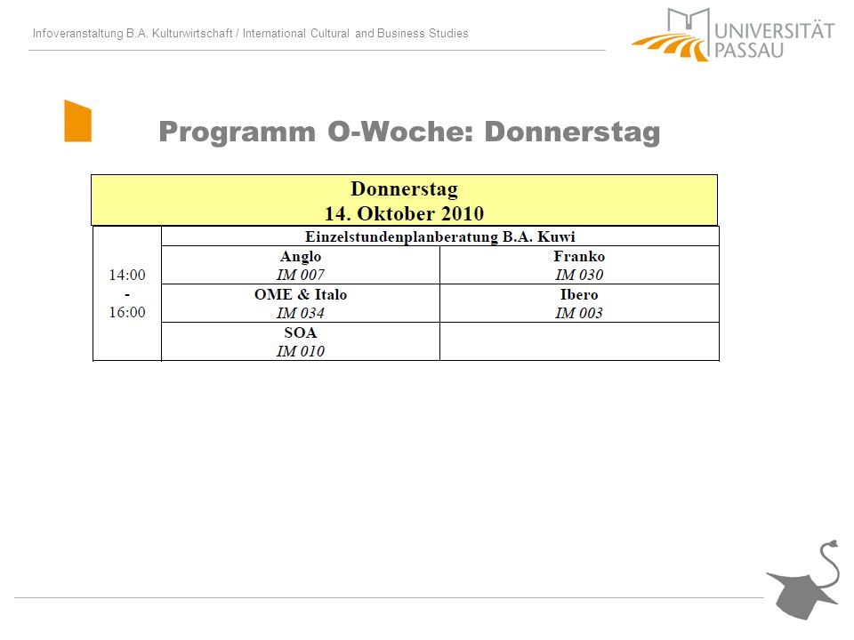 Programm O-Woche: Donnerstag