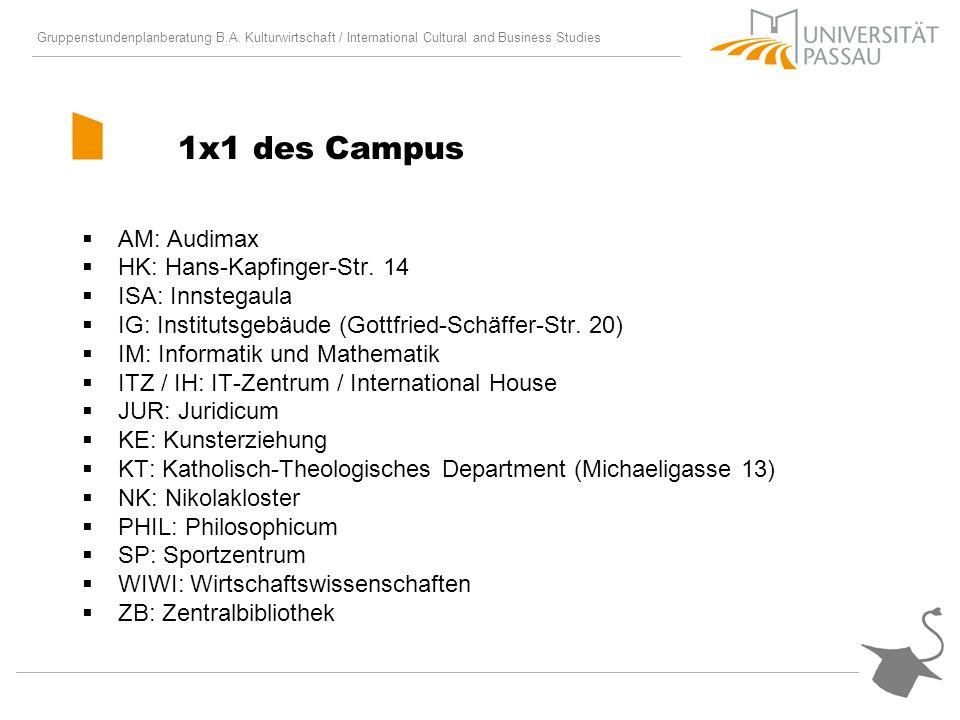 1x1 des Campus AM: Audimax HK: Hans-Kapfinger-Str. 14 ISA: Innstegaula
