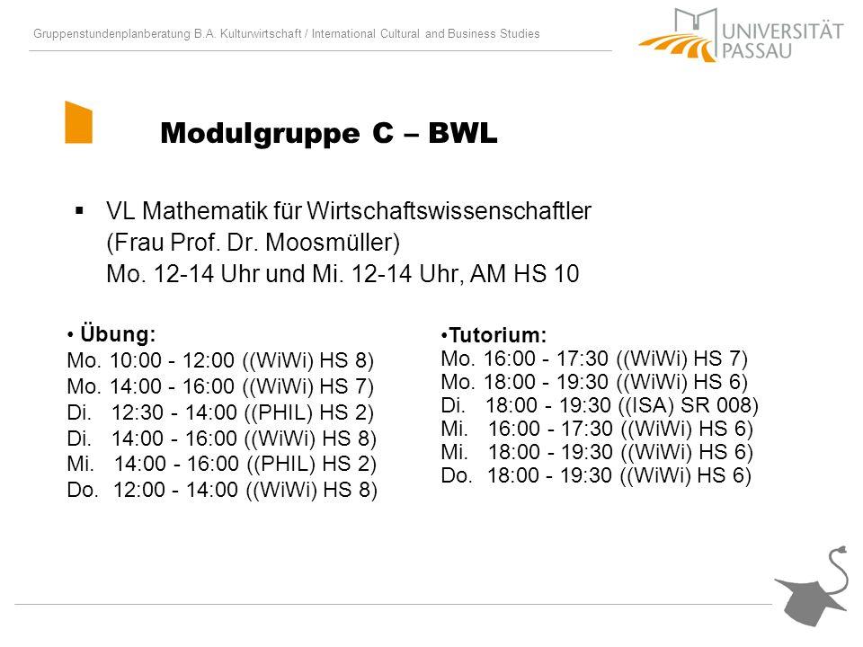 Modulgruppe C – BWL VL Mathematik für Wirtschaftswissenschaftler