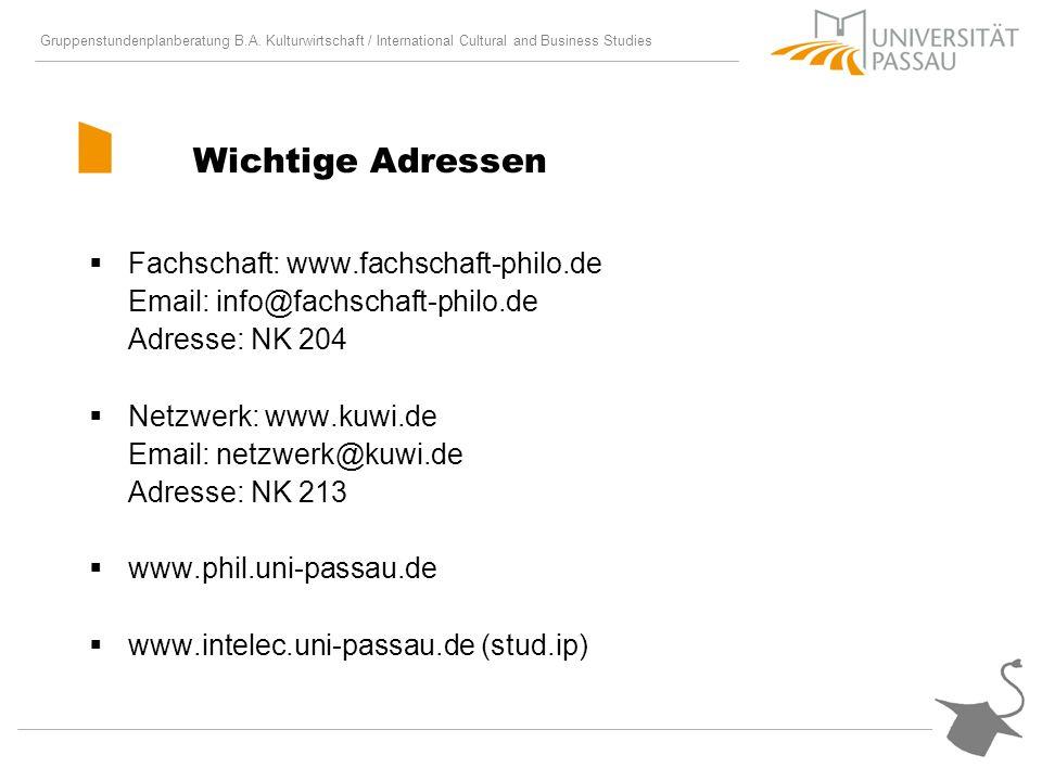 Wichtige Adressen Fachschaft: www.fachschaft-philo.de