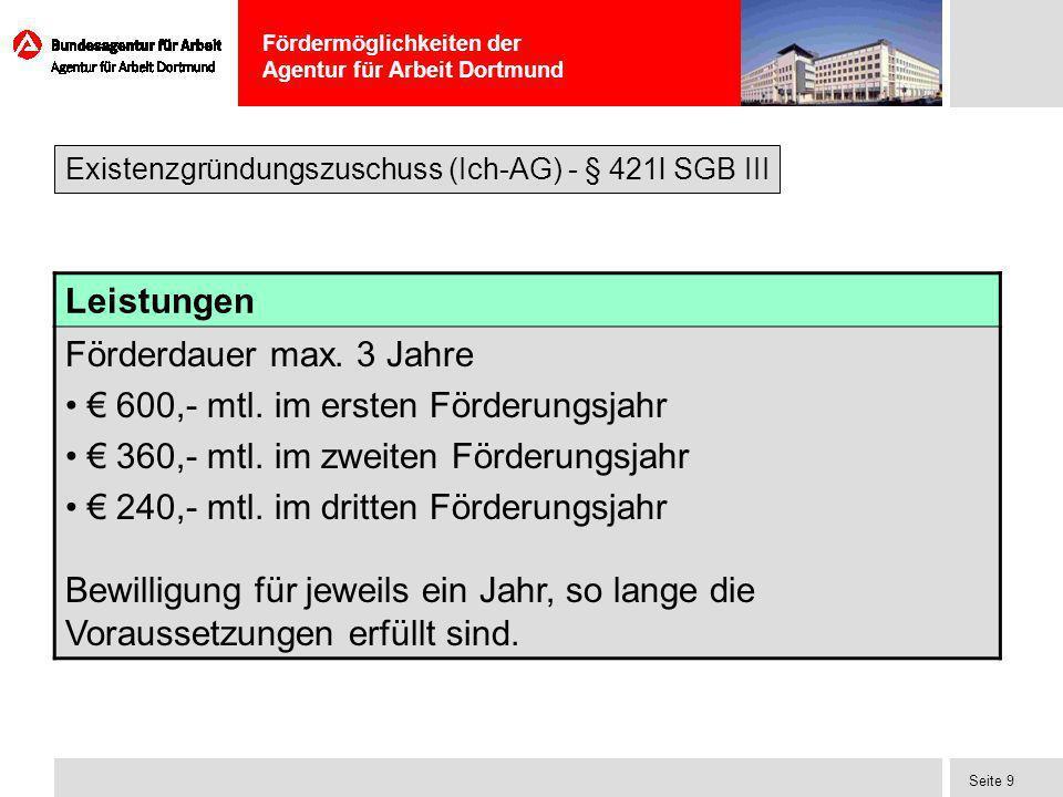 € 600,- mtl. im ersten Förderungsjahr