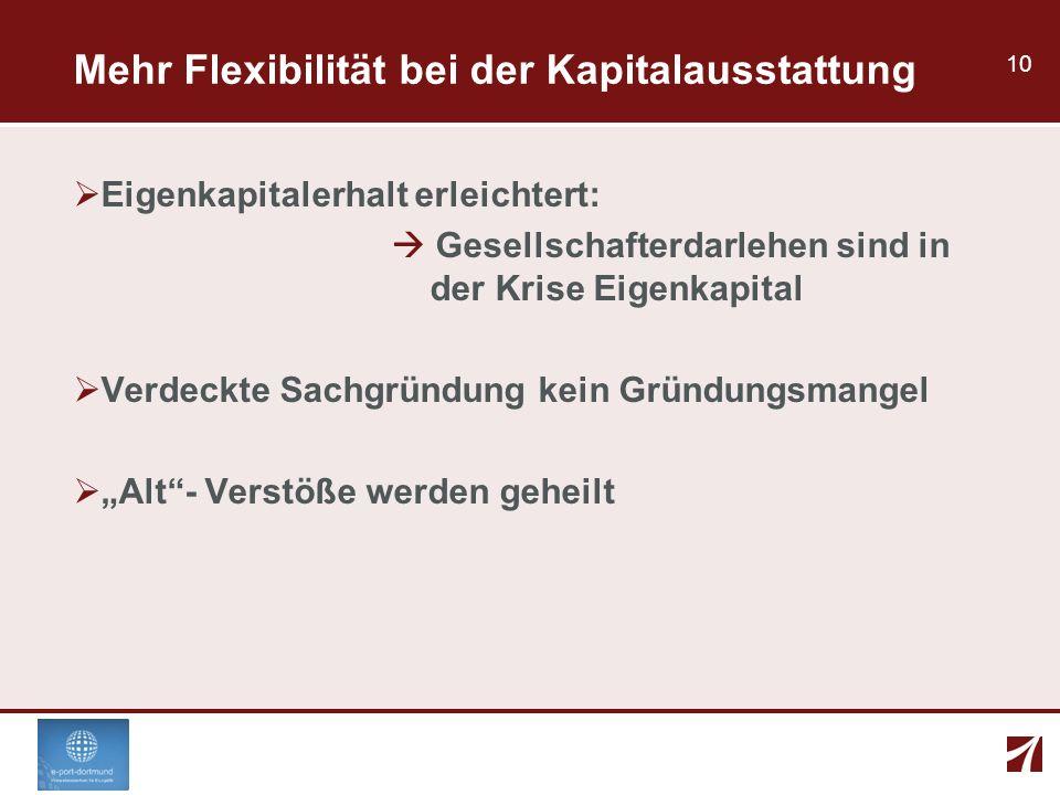Mehr Flexibilität bei der Kapitalausstattung