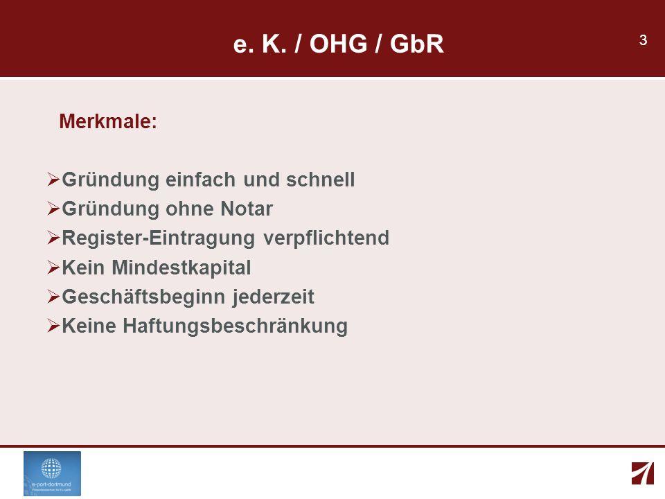 e. K. / OHG / GbR Merkmale: Gründung einfach und schnell