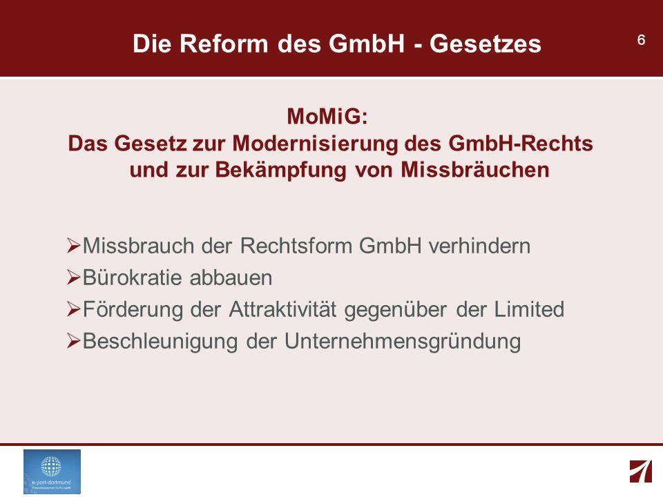 Die Reform des GmbH - Gesetzes