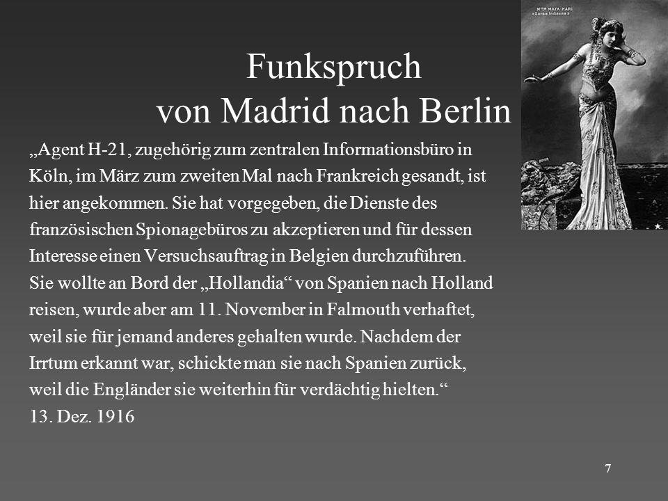Funkspruch von Madrid nach Berlin
