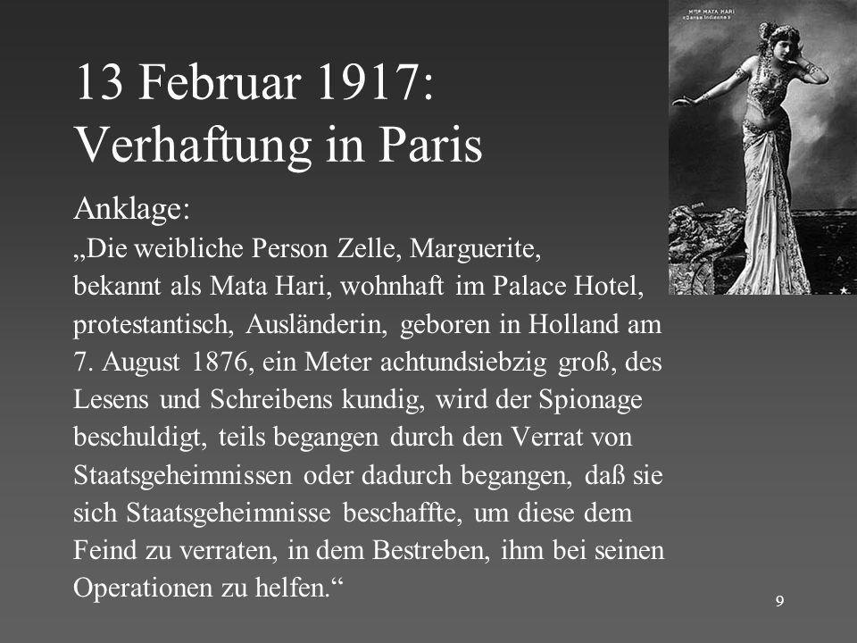 13 Februar 1917: Verhaftung in Paris