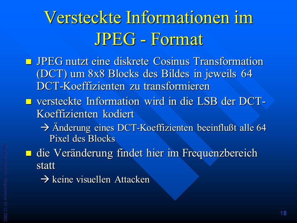 Versteckte Informationen im JPEG - Format