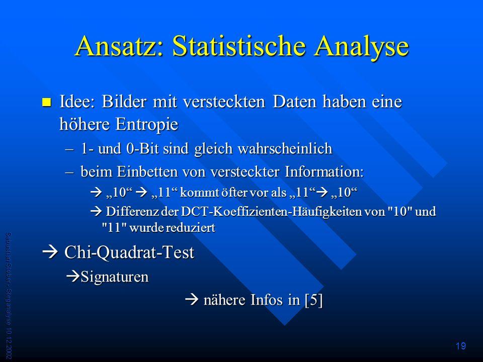 Ansatz: Statistische Analyse