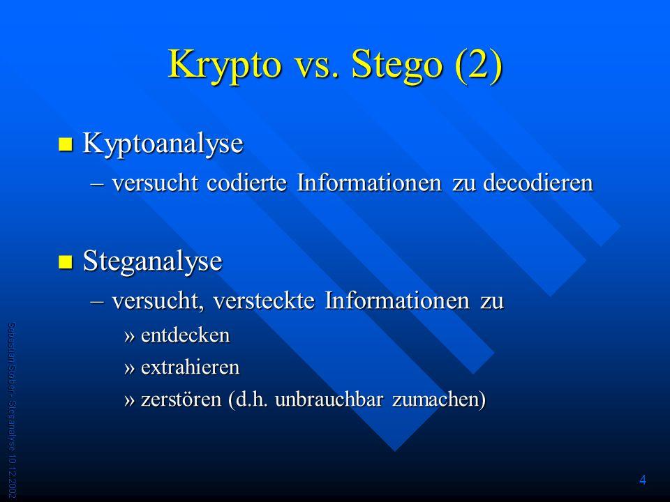 Krypto vs. Stego (2) Kyptoanalyse Steganalyse