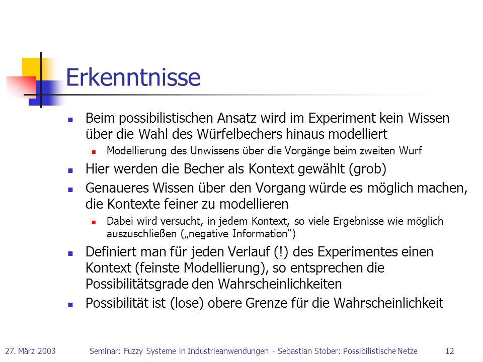 Erkenntnisse Beim possibilistischen Ansatz wird im Experiment kein Wissen über die Wahl des Würfelbechers hinaus modelliert.