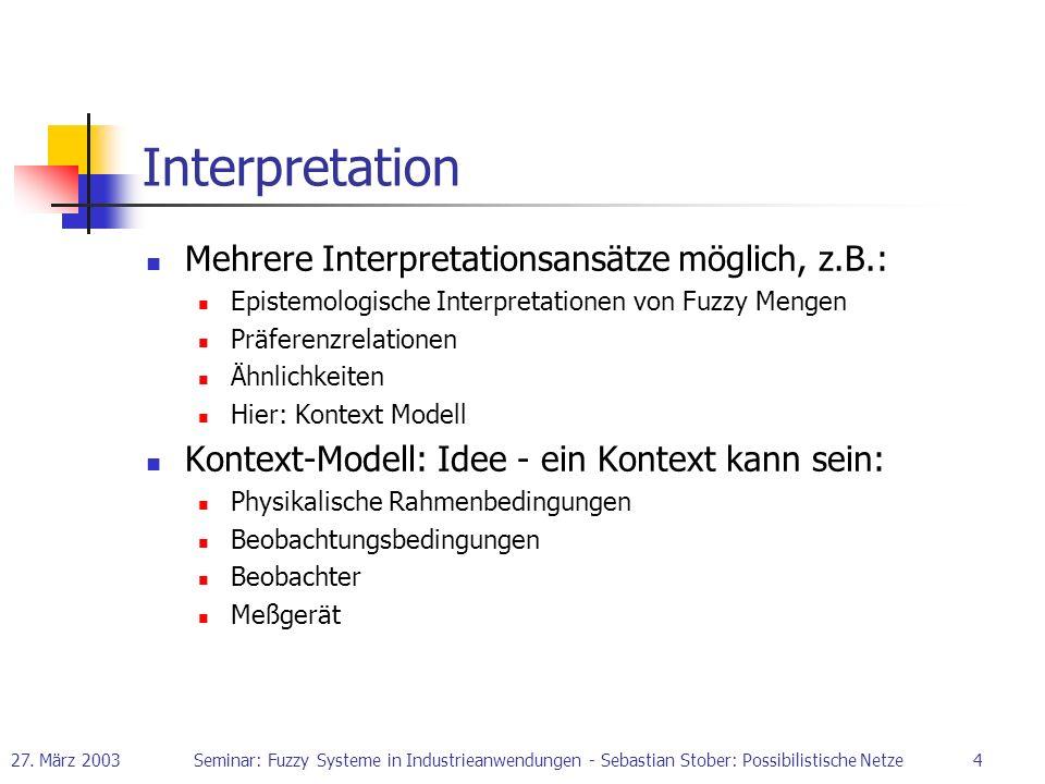 Interpretation Mehrere Interpretationsansätze möglich, z.B.: