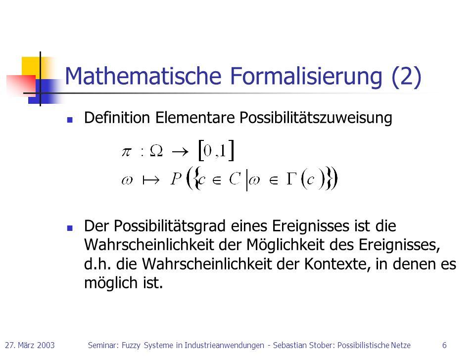 Mathematische Formalisierung (2)