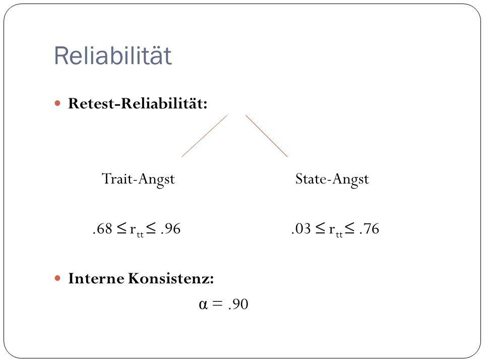 Reliabilität Retest-Reliabilität: Trait-Angst State-Angst