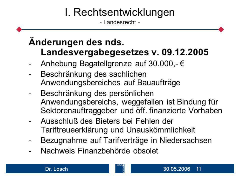 I. Rechtsentwicklungen - Landesrecht -