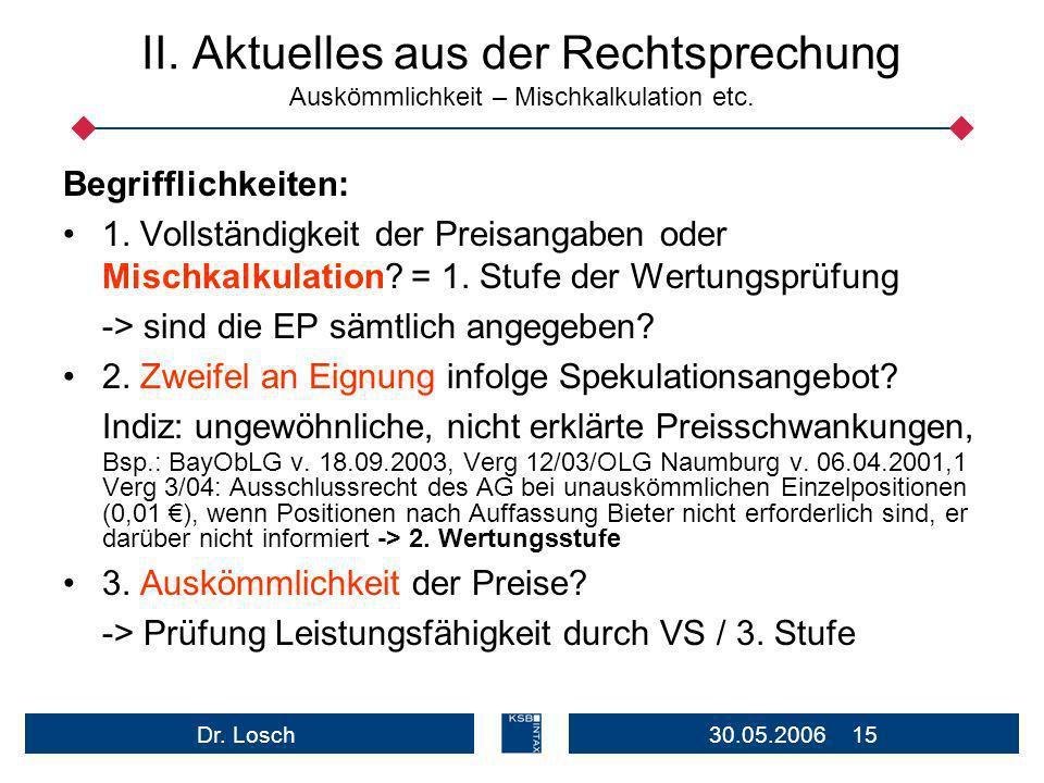 II. Aktuelles aus der Rechtsprechung Auskömmlichkeit – Mischkalkulation etc.