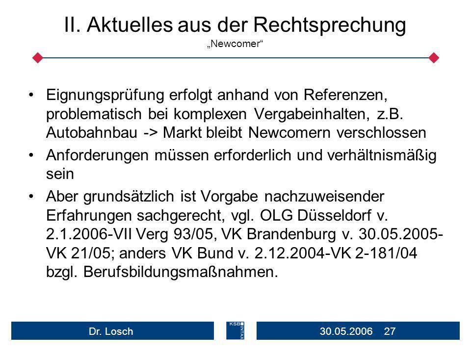 """II. Aktuelles aus der Rechtsprechung """"Newcomer"""