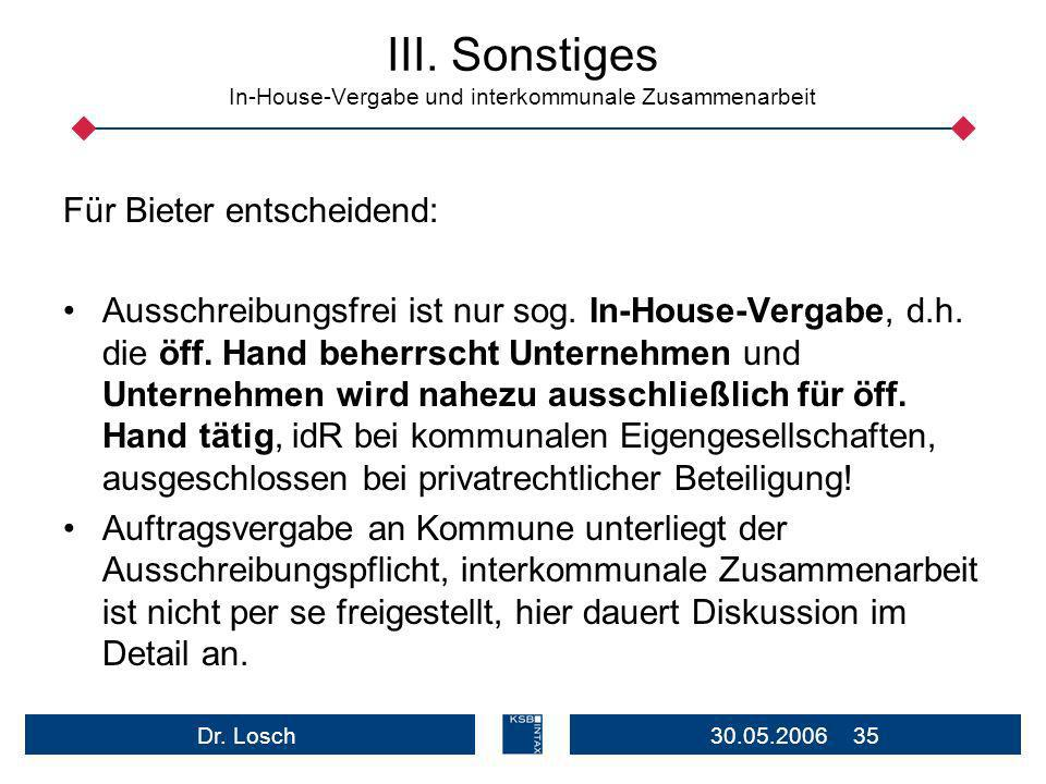 III. Sonstiges In-House-Vergabe und interkommunale Zusammenarbeit