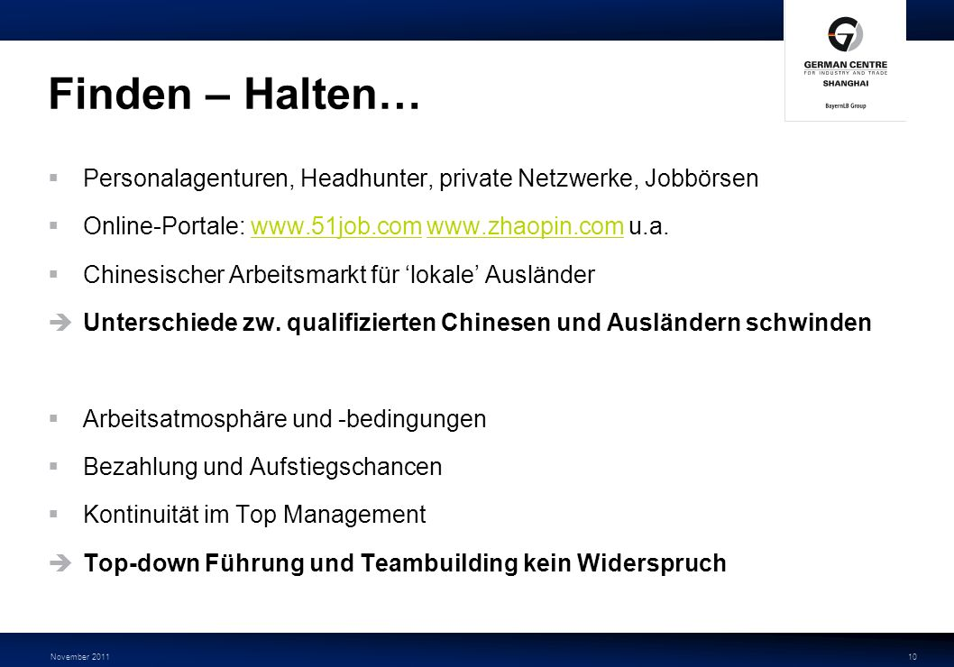 Finden – Halten… Personalagenturen, Headhunter, private Netzwerke, Jobbörsen. Online-Portale: www.51job.com www.zhaopin.com u.a.
