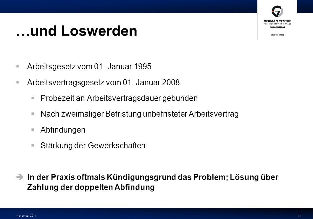 …und Loswerden Arbeitsgesetz vom 01. Januar 1995