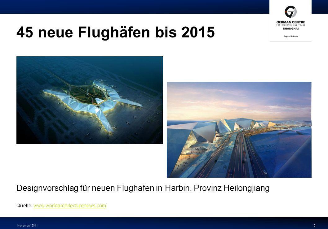 45 neue Flughäfen bis 2015 Designvorschlag für neuen Flughafen in Harbin, Provinz Heilongjiang. Quelle: www.worldarchitecturenews.com.