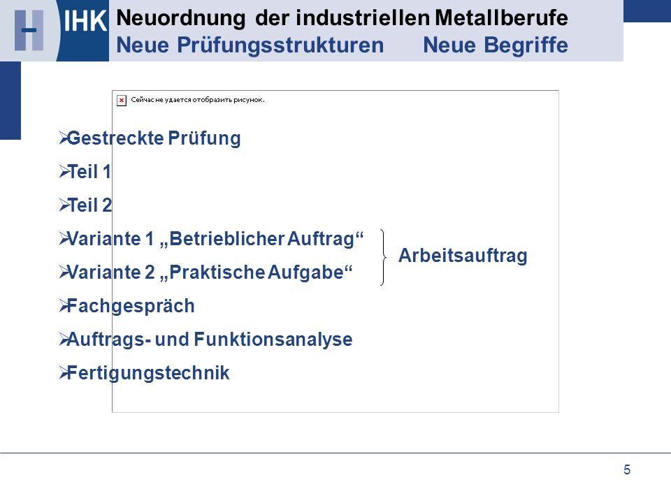 Neuordnung der industriellen Metallberufe Neue Prüfungsstrukturen Neue Begriffe