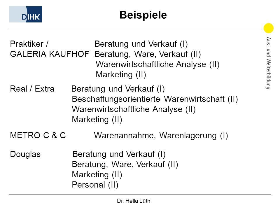 Beispiele Praktiker / Beratung und Verkauf (I)