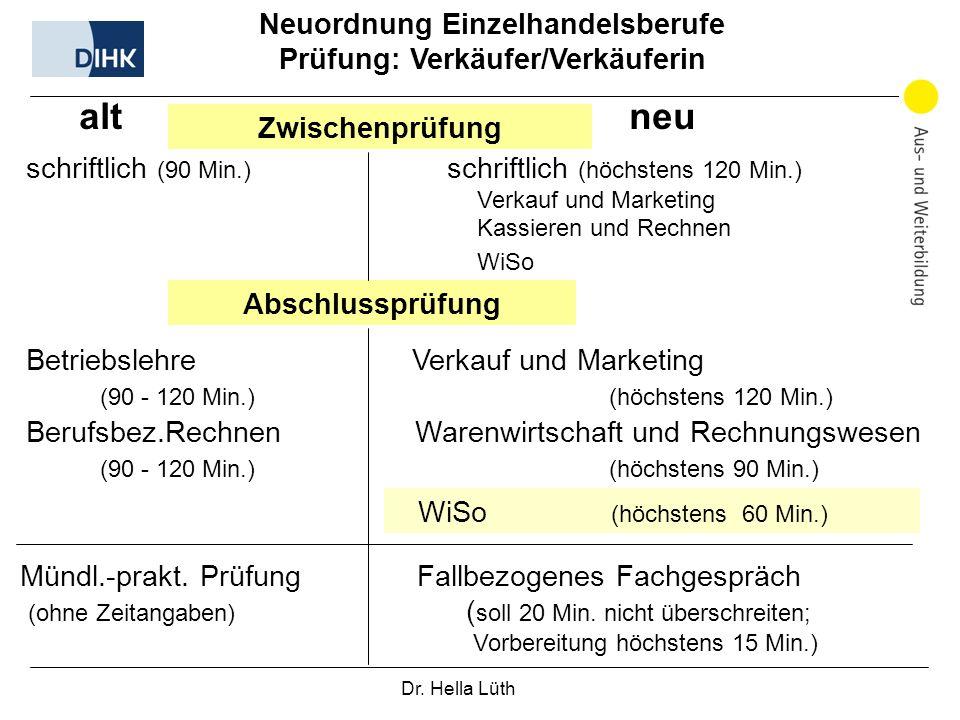 Neuordnung Einzelhandelsberufe Prüfung: Verkäufer/Verkäuferin