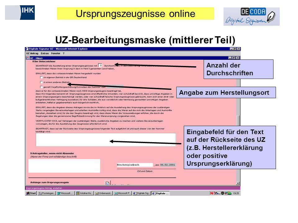 UZ-Bearbeitungsmaske (mittlerer Teil)