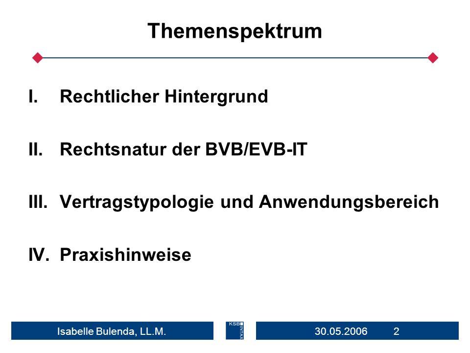 Themenspektrum Rechtlicher Hintergrund Rechtsnatur der BVB/EVB-IT
