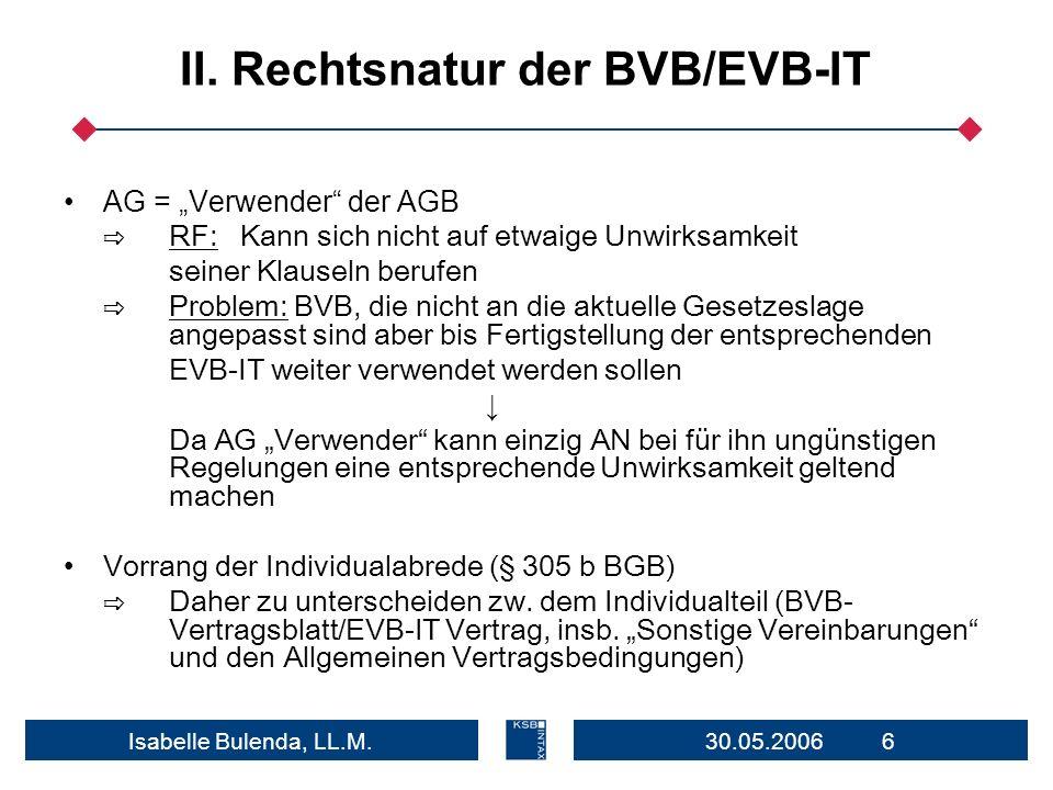 II. Rechtsnatur der BVB/EVB-IT