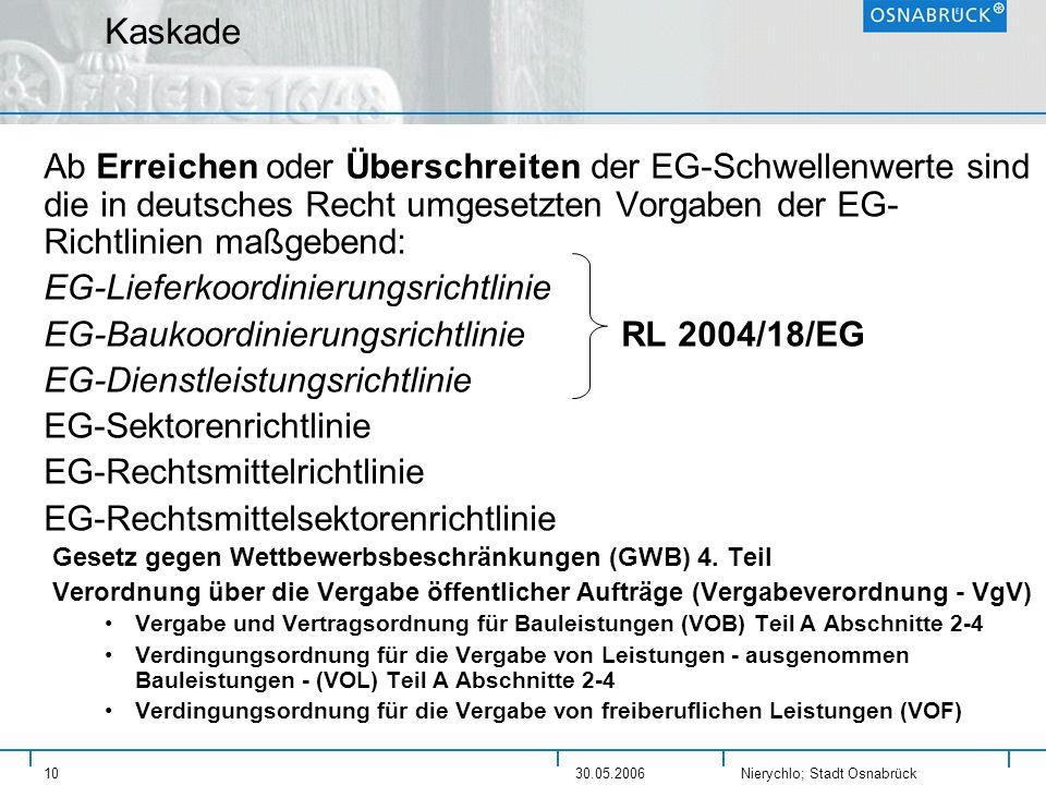 Kaskade Ab Erreichen oder Überschreiten der EG-Schwellenwerte sind die in deutsches Recht umgesetzten Vorgaben der EG-Richtlinien maßgebend: