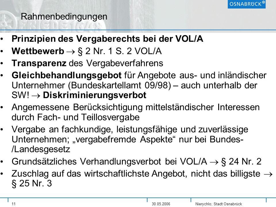 Prinzipien des Vergaberechts bei der VOL/A