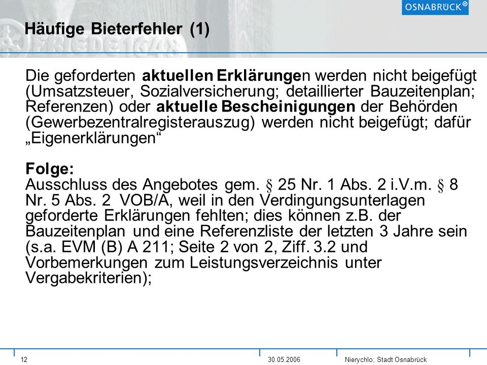 Häufige Bieterfehler (1)