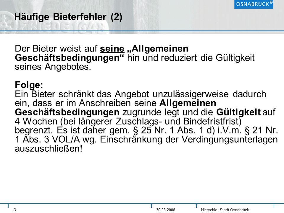 Häufige Bieterfehler (2)
