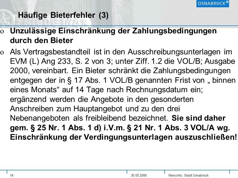 Häufige Bieterfehler (3)